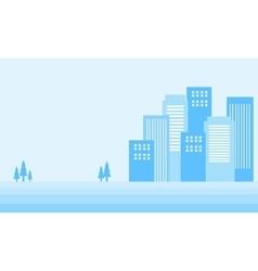 Silhouette of winter city art vector