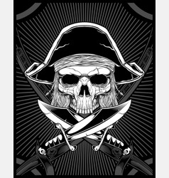 skull pirate with sword vector image