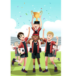 soccer team winning vector image