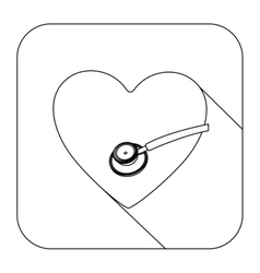 Square shape with silhouette heart and sthetoscope vector