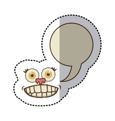 Sticker colorful face cartoon gesture with vector