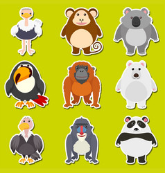 sticker design for cute animals vector image