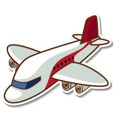 Sticker design with airplane isolated vector