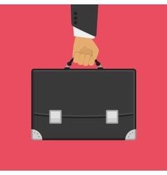 Suitcase in hand on red vector image