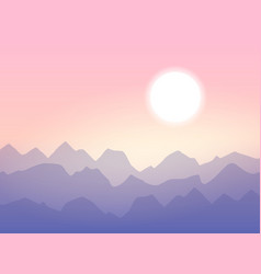 Sunrise in mountains minimalistic vector
