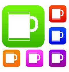 Tea mug set collection vector