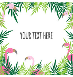 tropical leaves and flamingo summer text banner vector image
