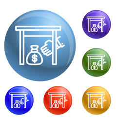 Under table money bag icons set vector