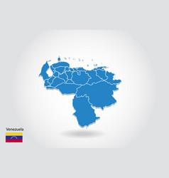 venezuela map design with 3d style blue venezuela vector image