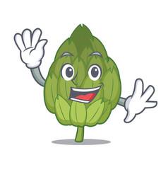 waving artichoke character cartoon style vector image