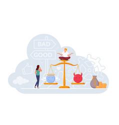 Woman choosing good and bad work on balance scale vector