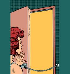 woman opens door vector image