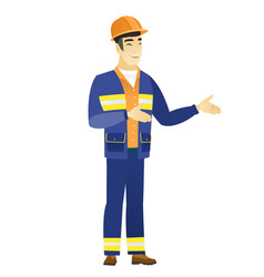 Young asian happy builder gesturing vector