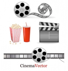 big set with cinema elements vector image