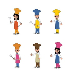 chef cartoon set vector image