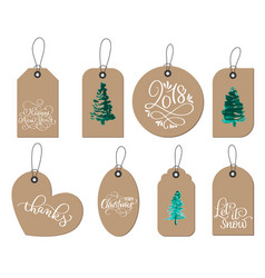 collection of kraft paper christmas gift tags vector image
