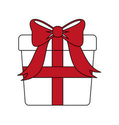color silhouette image giftbox with red wrapping vector image