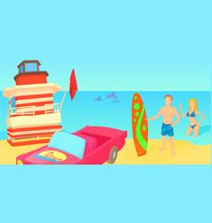 miami travel horizontal banner cartoon style vector image vector image
