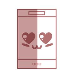 silhouette kawaii cute tender smartphone vector image vector image