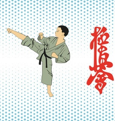 The boy shows karate on a light background vector image vector image