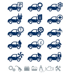Car service icons blue set vector image
