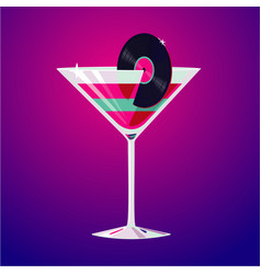 cocktail party club drink decorated vinyl disc vector image
