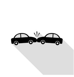 crashed cars sign black icon with flat style vector image vector image