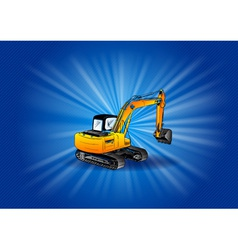digger on the blue background vector image vector image