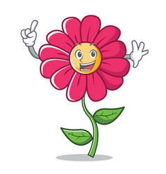 finger pink flower character cartoon vector image vector image