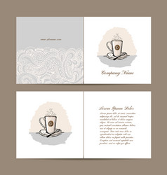 greeting card design with coffee cup vector image vector image