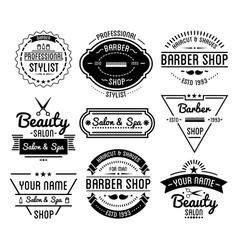 Set of vintage barber shop logo and beauty spa vector image vector image