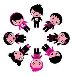 emo kids circle vector image