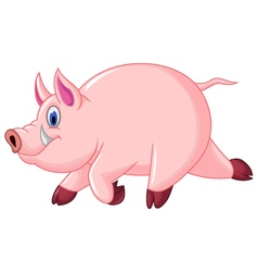 funny pig cartoon run vector image vector image