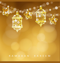 islamic greeting card garlands with oriental vector image