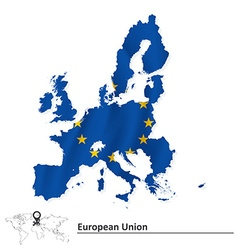 Map of European Union 2015 with flag vector image