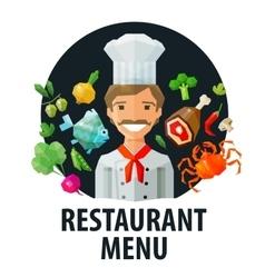 menu restaurant logo design template chef vector image