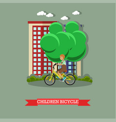 a kid riding bicycle in vector image vector image