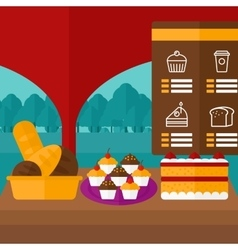 Background of bakery with table full of bread and vector image