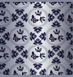 blue pattern with chinese traditional symbol vector image vector image
