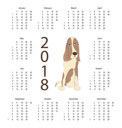 calendar 2018 with dog vector image