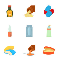 medicament icons set cartoon style vector image