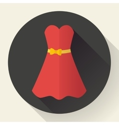 Red dress - classic fashion Icon in the flat vector image