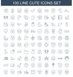 100 cute icons vector