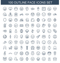 100 face icons vector