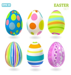 3D easter eggs set with shadows vector