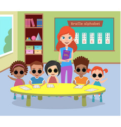 A special class of blind children with glasses vector