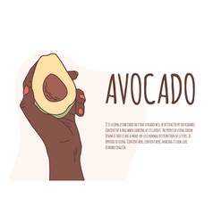 African hand holds a avocado on an isolated vector