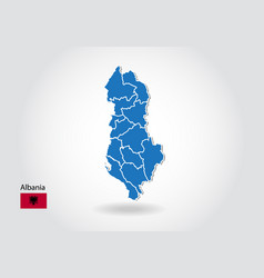 Albania map design with 3d style blue albania map vector