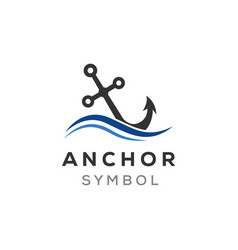 Anchor and ocean wave logo designs inspirations vector