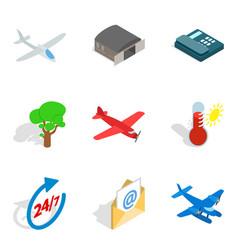 aviation icons set isometric style vector image